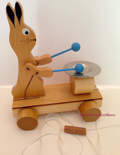 Bunny Rabbit Drumming Wooden Pull Toy by Belarus (Russia Soviet Union), Vintage 1980s Designer Gift for Baby Nursery