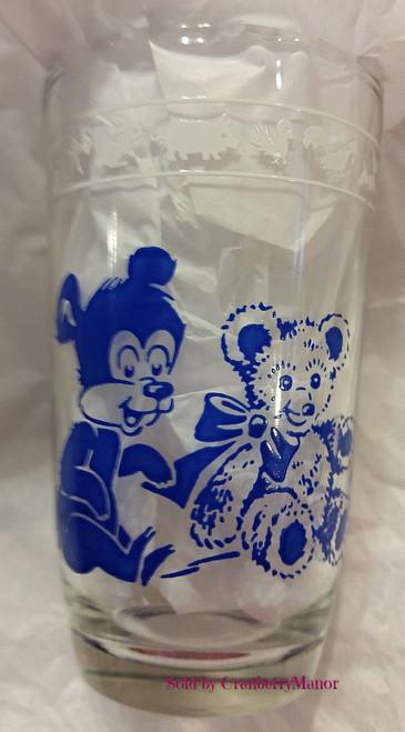 Kraft Cheese Swanky Swig Glass by Hazel Atlas, Blue Pig & Bear, Vintage Collectible Swankyswig Gift