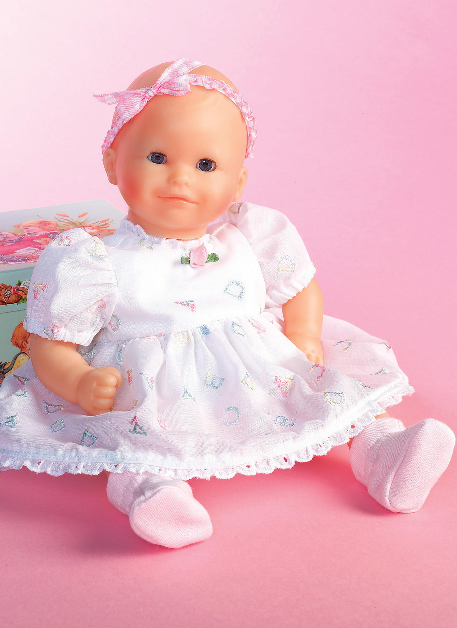 """Sweet Booties For Baby Doll White With Pink Puff Size 4  18/"""" to 20/"""" Doll"""