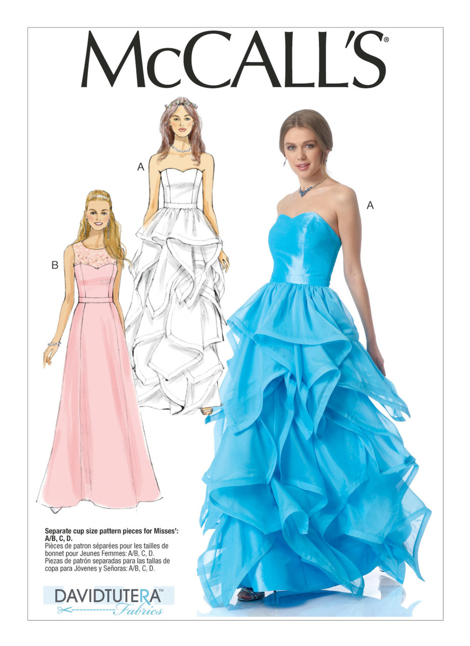 M7124 | Misses' Floor-Length Sweetheart-Neckline Dresses ...