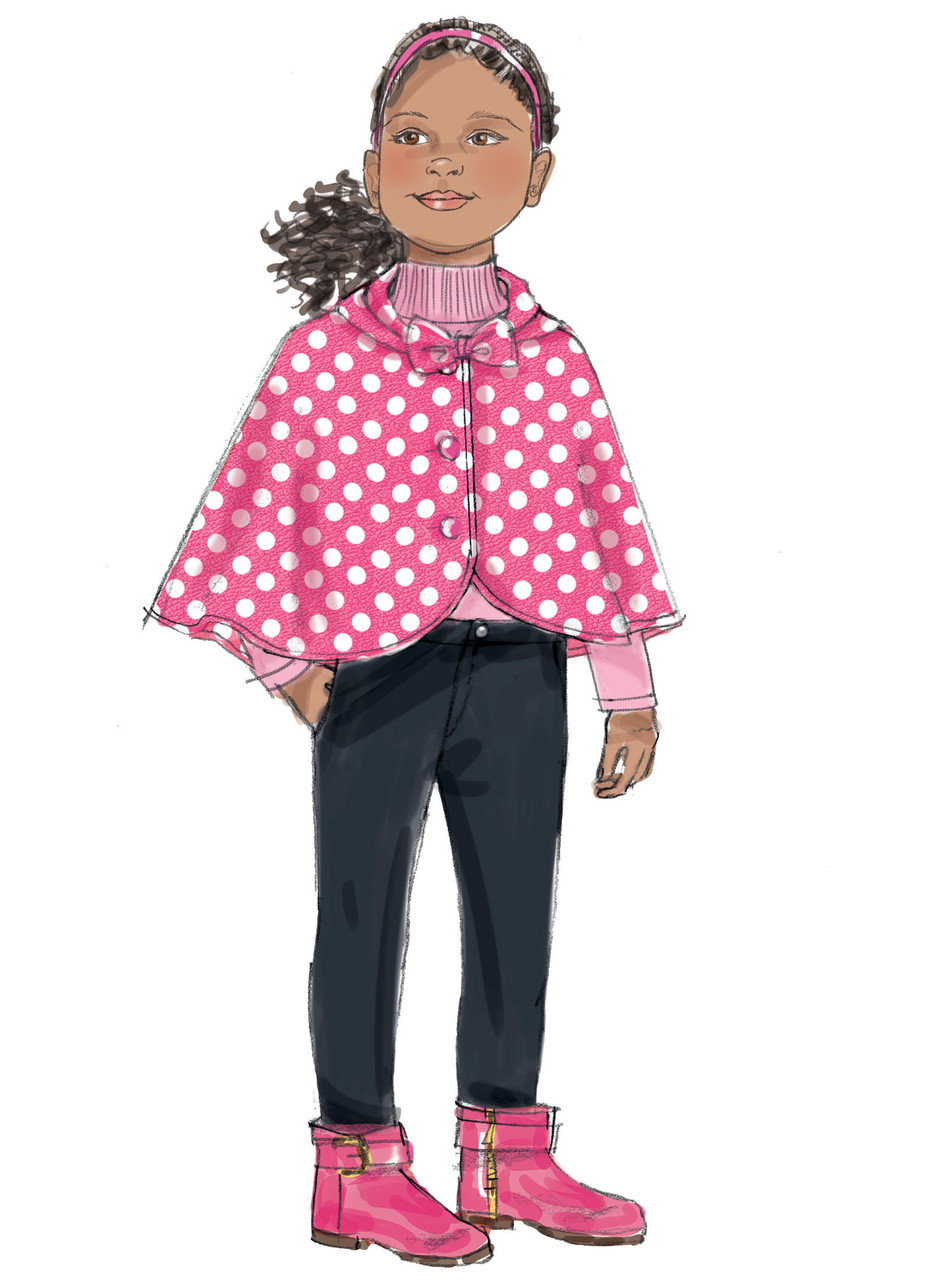 Butterick Sewing Pattern 6373 Children/'s Girls Capes /& Poncho with Hood