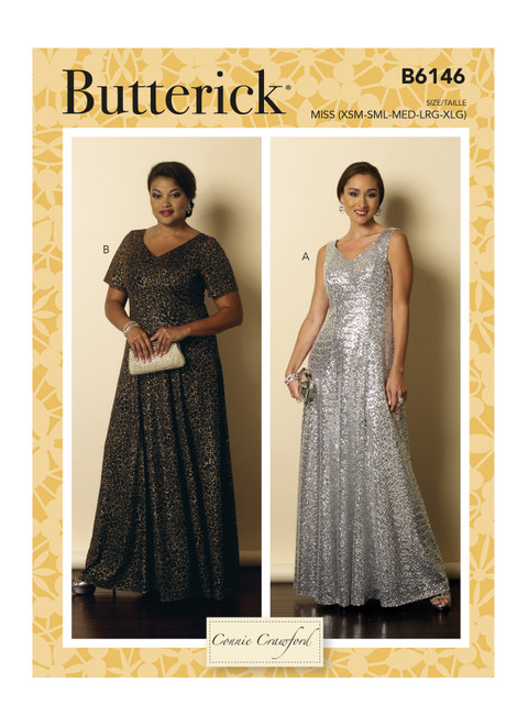 Butterick 6146, Misses'/Women's Floor-Length, Fit-and-Flare Dresses