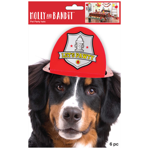 Molly and Bandit™ Pet Party - Dog Party Hats - Fireman Collection, 6 Pack