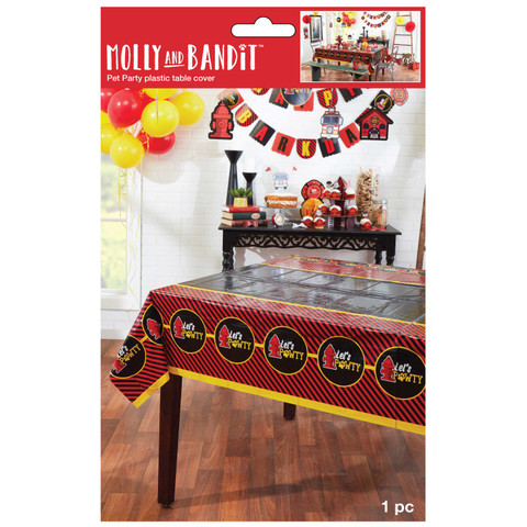 Molly and Bandit™ Pet Party - Plastic Table Cover - Fireman Collection