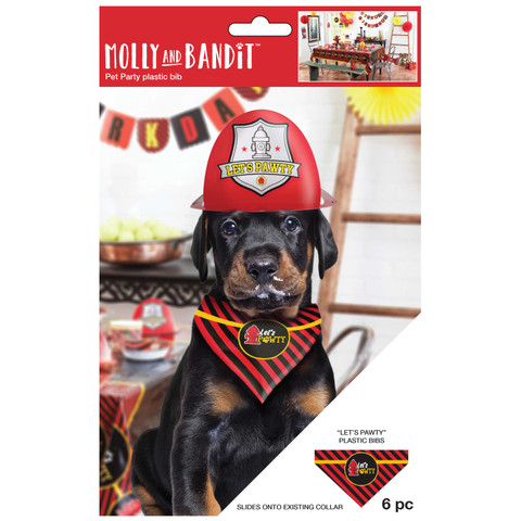 Molly and Bandit™ Pet Party - Dog Bibs - Fireman Collection, 6 Pack