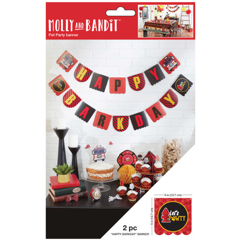 Molly and Bandit™ Pet Party - Dog Birthday Banner - Fireman Collection