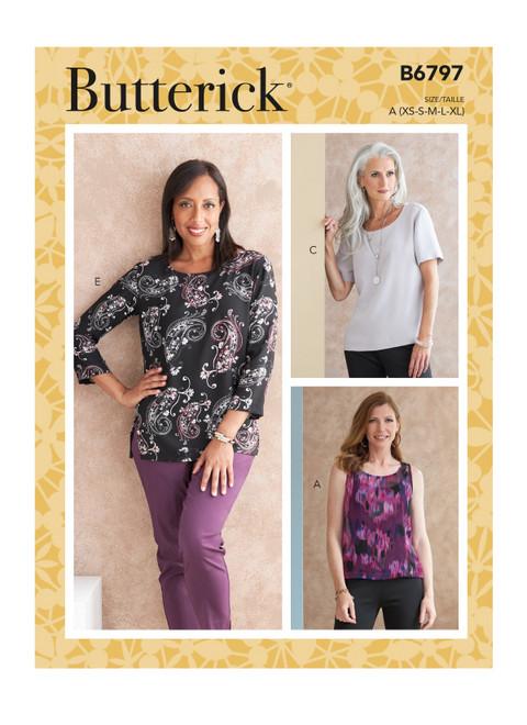 Butterick B6797 | Misses' & Misses' Petite Scoop-neck Tops