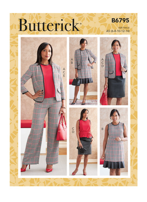 Butterick B6795 | Misses' Jacket, Dress, Top, Sash, Skirt & Pants