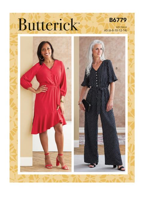 Butterick B6779 (Digital) | Misses' Dress, Jumpsuit & Sash