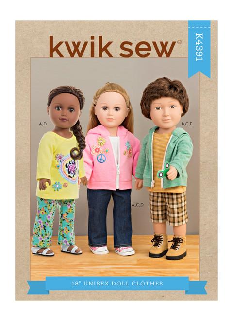 "Kwik Sew K4391 | 18"" Unisex Doll Clothes"