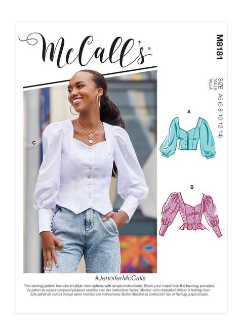 McCall's M8181 | #JenniferMcCalls - Misses' Tops