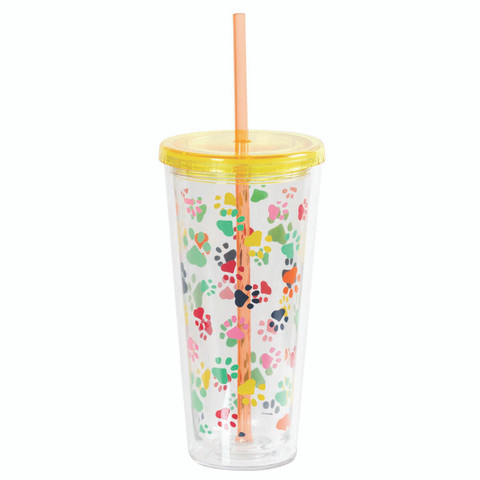 Insulated Tumbler with Straw - Paw Prints