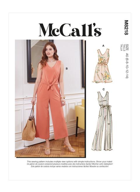 McCall's M8218 | Misses' Romper, Jumpsuits & Sash