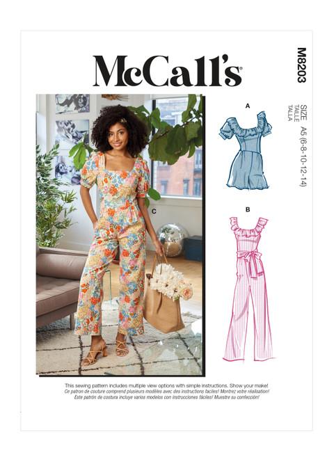 McCall's M8203 | Misses' Romper, Jumpsuits & Sash