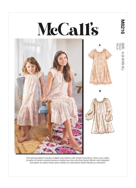McCall's M8216   Misses' & Children's Dresses