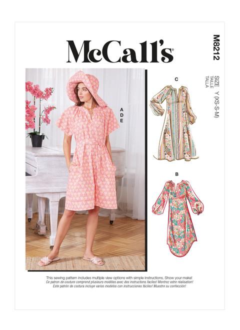 McCall's M8212 | Misses' Dresses, Belt, Hat & Mask