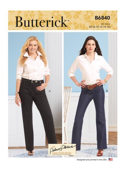 Butterick B6840 (Digital)   Misses' & Women's Straight-Leg or Boot Cut Jeans