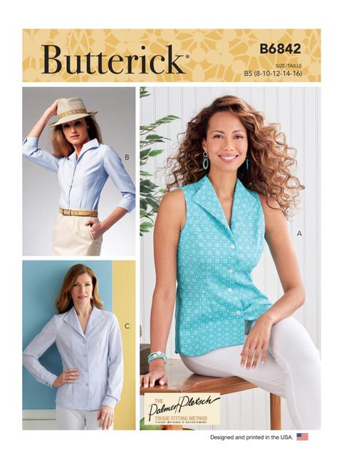 Butterick B6842 (Digital)   Misses' Fold-Back Collar Shirts