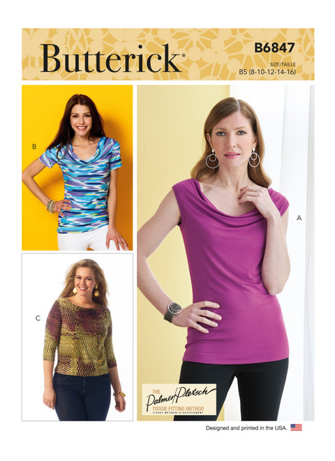 Butterick B6847 (Digital) | Misses' Cowl-Neck Tops