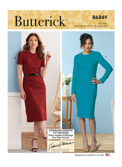 Butterick B6849 (Digital)   Misses' Fit Pattern Dresses & Optional Collar
