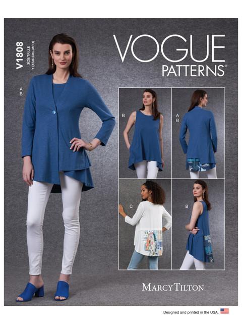 Vogue Patterns V1808 | Misses' Cardigan & Tunics