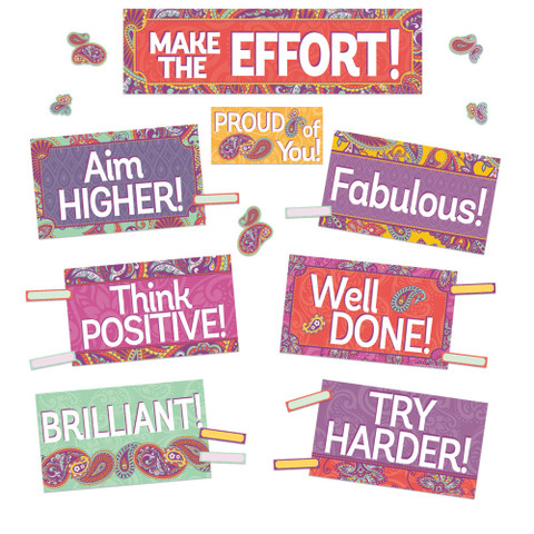 Positively Paisley Class Management Mini Bulletin Board Set
