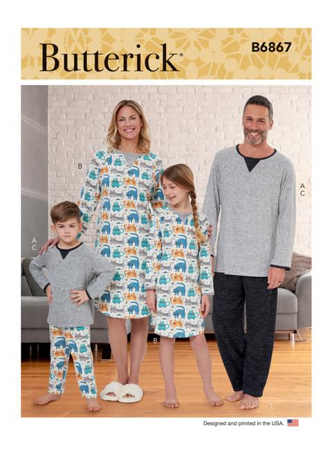 Butterick B6867   Misses', Men's, Children's, Boys', Girls' Top, Tunic and Pants