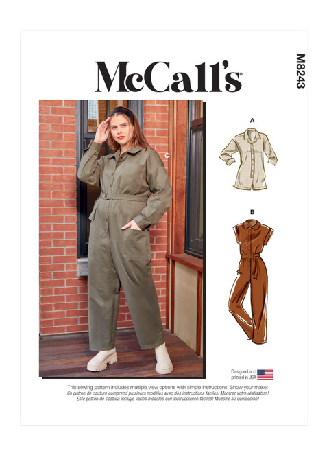 McCall's M8243   Misses' and Women's Romper, Jumpsuits and Belt