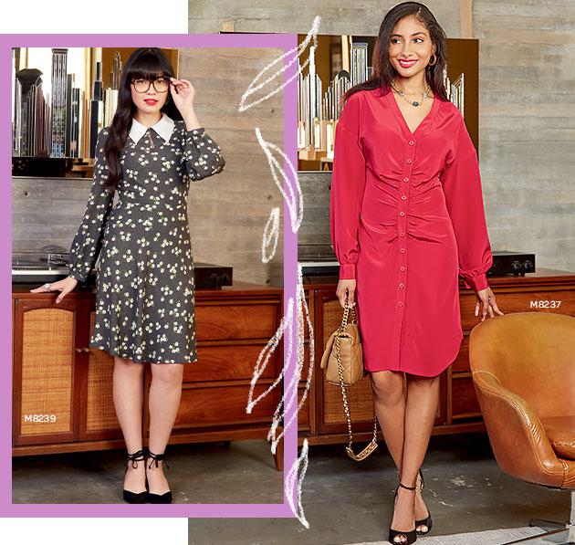 Woman on left wears dress pattern M8239, and woman on right wears dress pattern number M8237