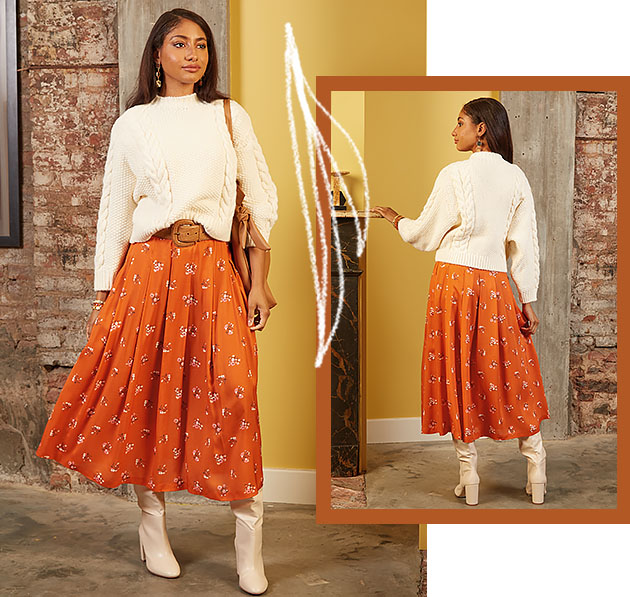 Woman wears orange pleated skirt pattern number M8248 showing front and back view