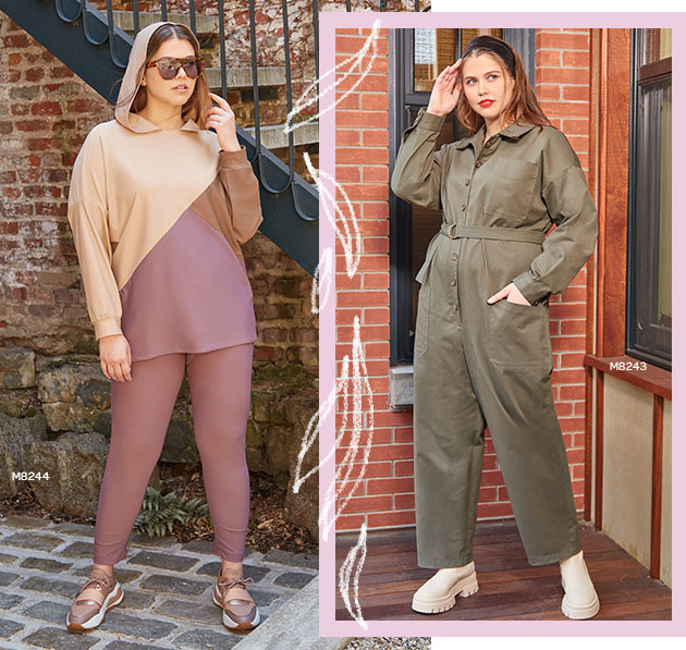 Woman wears plus size pattern number M8244 leisure wear on the left, and M8243 jumpsuit on the right