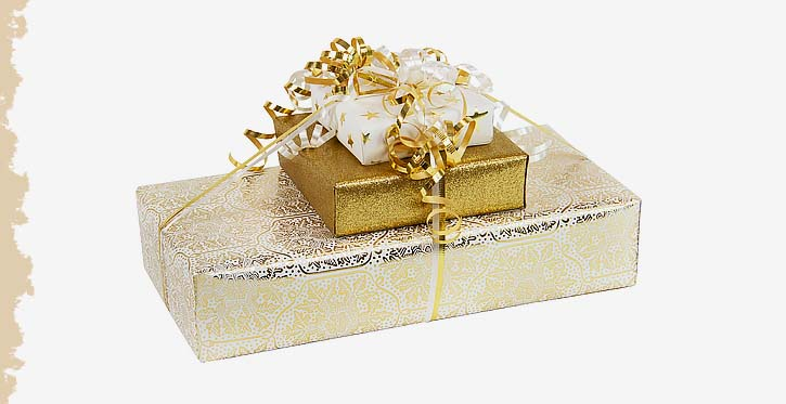 Packages wrapped with Offray Curling ribbon