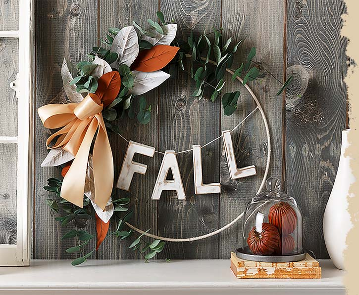 Fall wreath with Offray ribbon