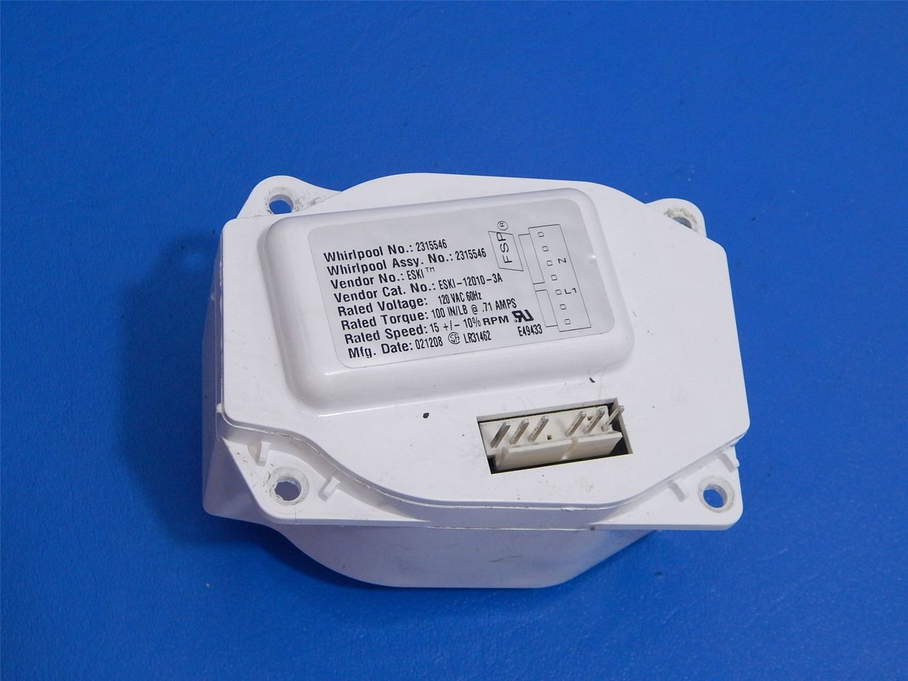 Whirlpool Side/Side Refrigerator ED5LTAXVL00 Ice Dispenser Auger Motor  2315546