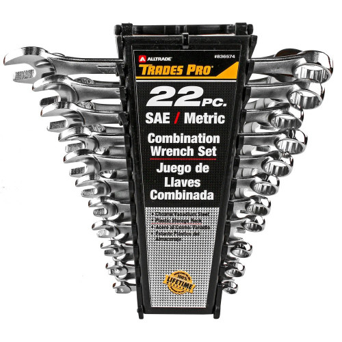 TRADESPRO 22-PIECE SAE & METRIC COMBINATION WRENCH SET - 836574