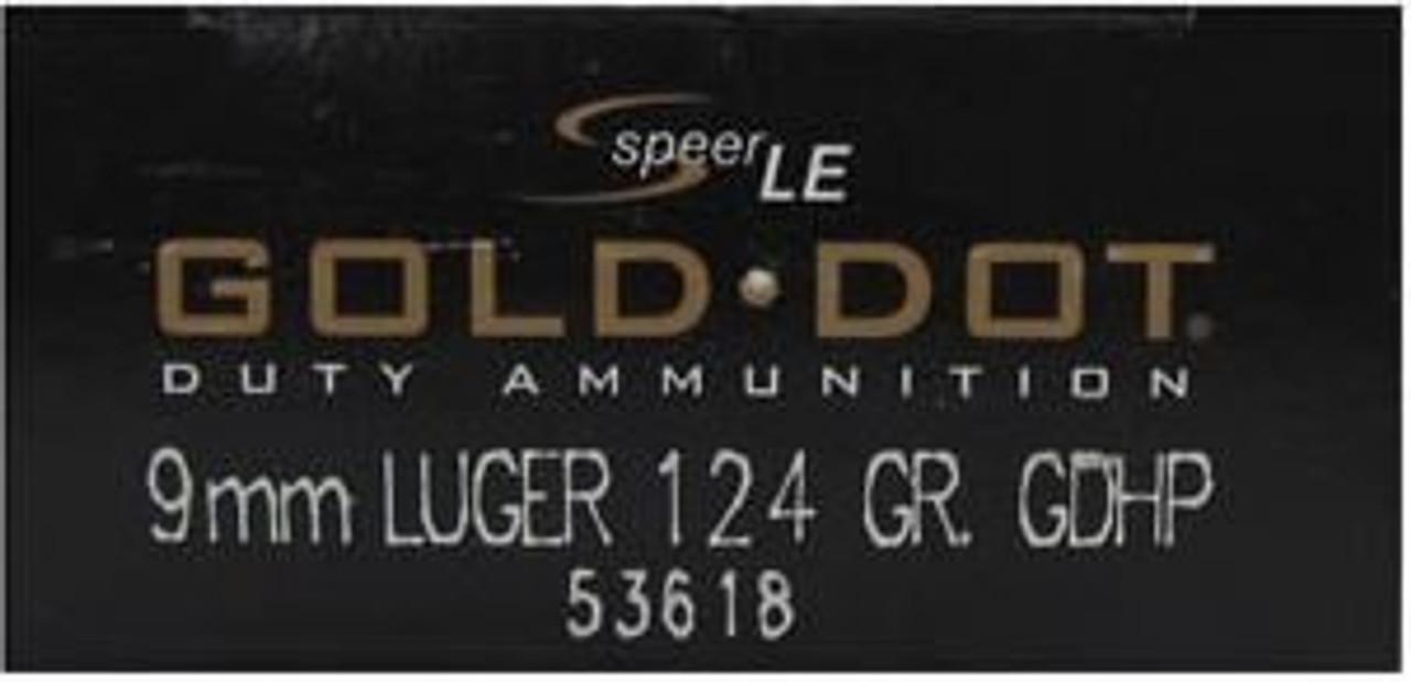 Speer 9mm 124GR Gold Dot HP - 53618