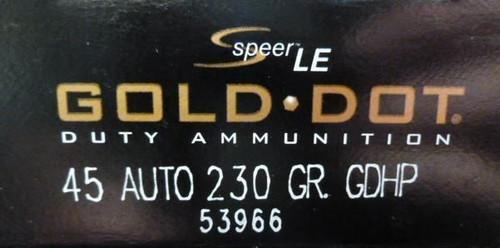 Speer .45 230GR Gold Dot HP - 53966
