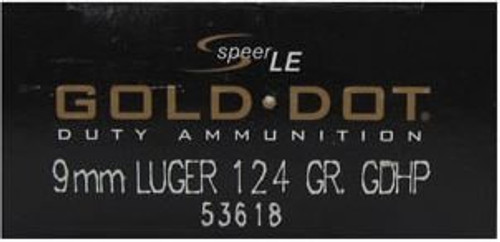 Speer 9mm 124GR Gold Dot HP - 53618