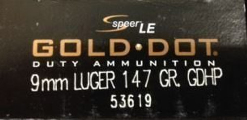 Speer 9mm 147GR Gold Dot HP - 53619