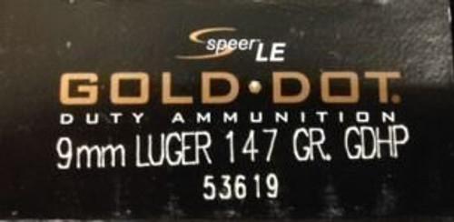 Speer 9mm 147GR Gold Dot HP - 53619