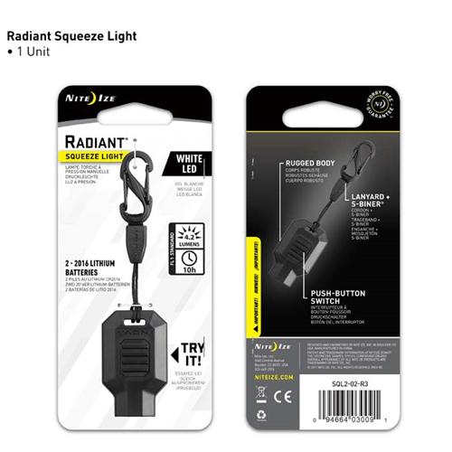 Nite-Ize Radiant Squeeze Light LED Key Chain Light NISQL2-02-R3
