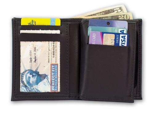 Hidden Badge Wallet w/ Money Pocket, 5 CC Slots & Flipping ID Window