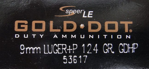 Speer 9mm 124GR +P Gold Dot HP - 53617