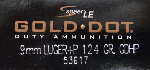 Speer 9mm 124GR +P Gold Dot HP - 53617