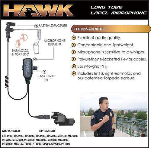 Earphone Connection HAWK LAPEL MICROPHONE W/PTT BUTTON W/QR