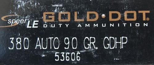 Speer .380 90GR Gold Dot HP - 53606