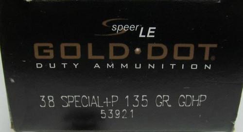Speer .38SPL 135GR +P Gold Dot HP - 53921