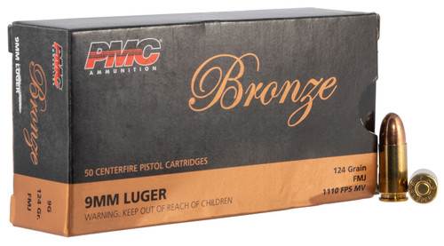 PMC 9G 9mm Luger Bronze 124gr FMJ Ammo