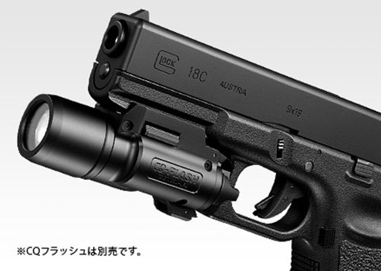 CQ FLASH (Sold separately) is mounted on Tokyo Marui No.44 Glock 18C Full Auto Gas blow back Airsoft Gun
