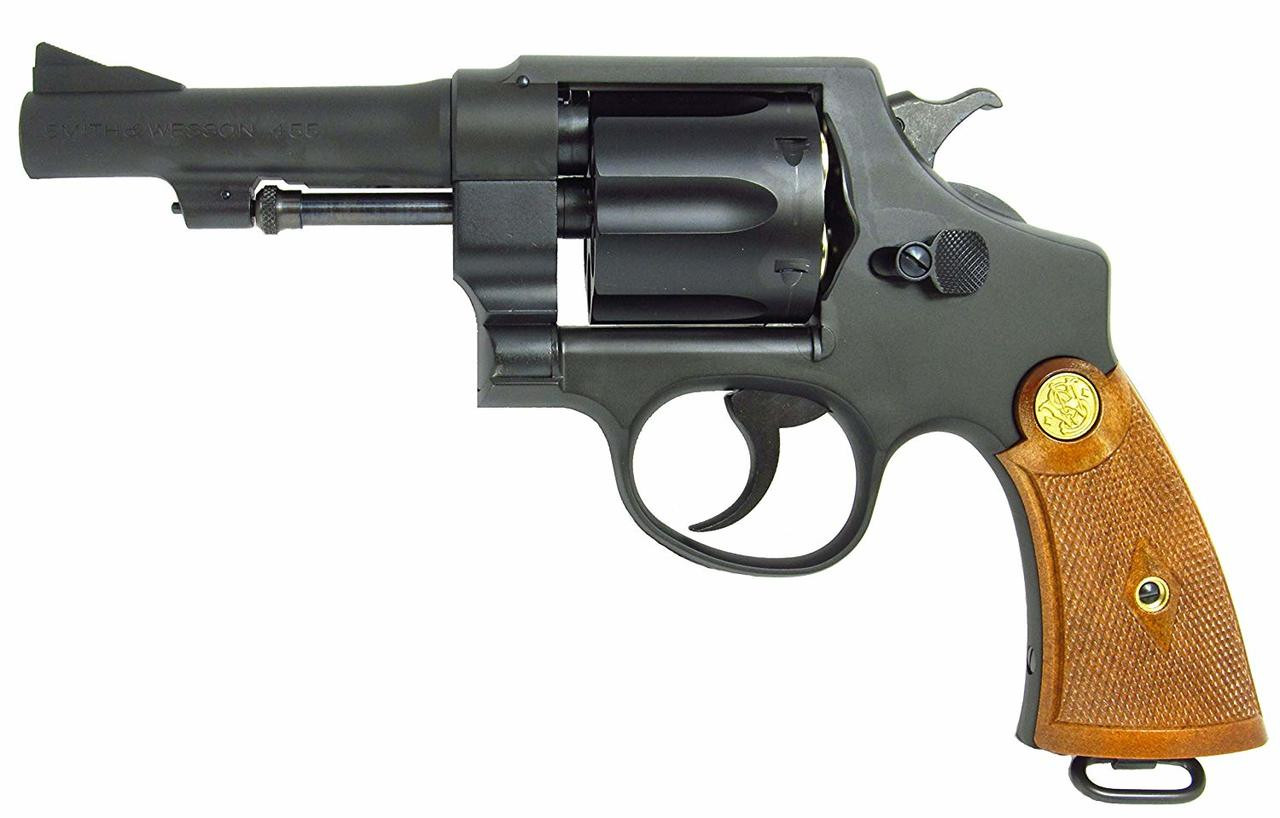 Muzzle left of Tanaka Smith & Wesson M1917 .455 HE2 4inch Custom Heavy Weight Gas Revolver Airsoft Gun